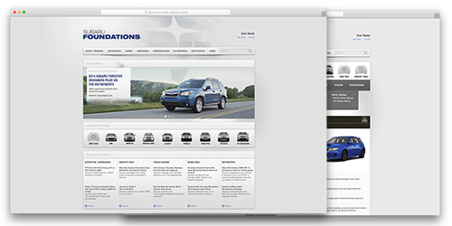images of webpages designed for Subaru of America