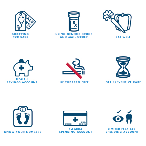 nine icons about health insurance