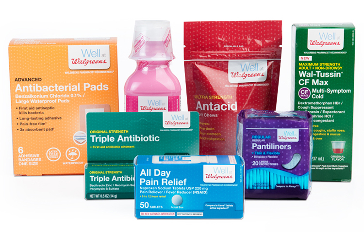 a sample of products in walgreens packaging design