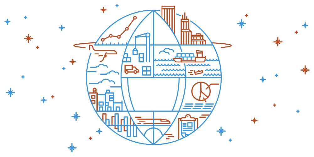 line illustration of global logistics